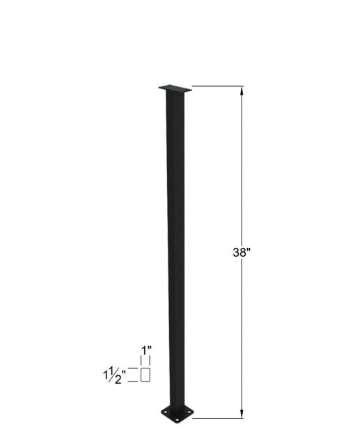 """PL-F39NWL4H: 38"""" Level Panel Spacer Newel for 39"""" Rail Height (Flush Mount - 39"""" Rail Height) - 4 Hole Base Plate Dimensions"""