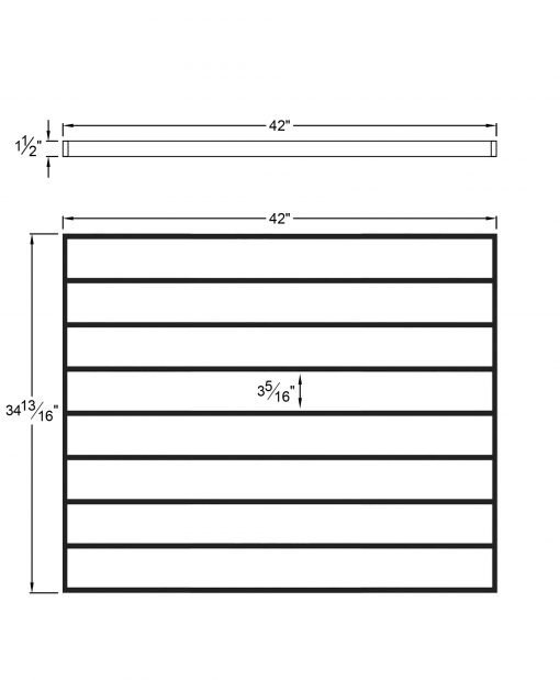 """PL-F4236: 42."""" Level Panel for 36"""" Level Rail Height (Flush Mount - 36"""" Level Rail Height) Dimensions"""