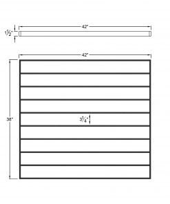 """PL-F4239: 42."""" Level Panel for 39"""" Level Rail Height (Flush Mount - 39"""" Level Rail Height) Dimensions"""