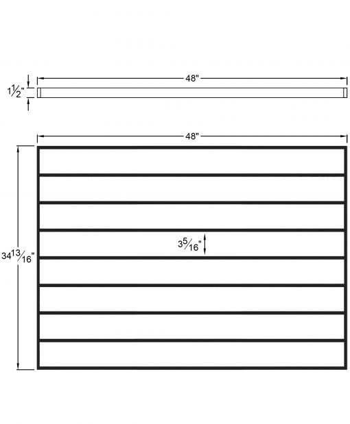 """PL-F4836: 48"""" Level Panel for 36"""" Level Rail Height (Flush Mount - 36"""" Level Rail Height) Dimensions"""