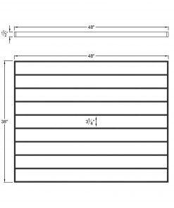 """PL-F4839: 48"""" Level Panel for 39"""" Level Rail Height (Flush Mount - 39"""" Level Rail Height) Dimensions"""