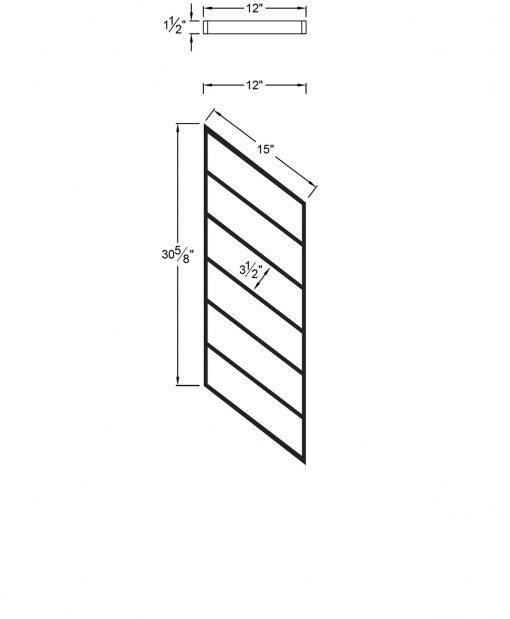 "PR-K1236: 12"" Kneewall Stair Panel for 36"" Rake Rail Height (Kneewall - 36"" Rake Rail Height) Dimensions"