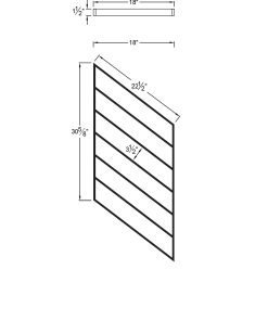 "PR-K1836: 18"" Kneewall Stair Panel for 36"" Rake Rail Height (Kneewall - 36"" Rake Rail Height) Dimensions"
