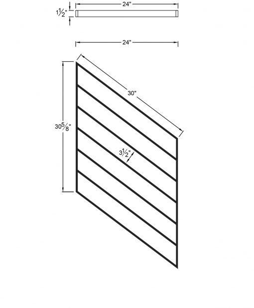 "PR-K2436: 24"" Kneewall Stair Panel for 36"" Rake Rail Height (Kneewall - 36"" Rake Rail Height) Dimensions"