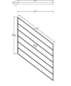 "PR-K3036: 30"" Kneewall Stair Panel for 36"" Rake Rail Height (Kneewall - 36"" Rake Rail Height) Dimensions"