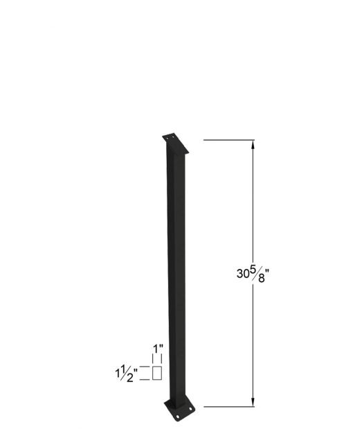 """PR-K36NWL2H: 30 5/8"""" Kneewall Panel Spacer Newel for 36"""" Rail Height - 2 Hole Base Plate Dimensions"""