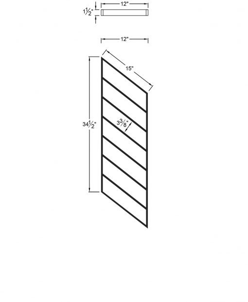 "PR-O1236: 12"" Open Tread Stair Panel for 36"" Rake Rail Height (Rake Angle - 36"" Rake Rail Height) Dimensions"
