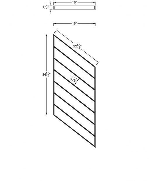 "PR-O1836: 18"" Open Tread Stair Panel for 36"" Rake Rail Height (Rake Angle - 36"" Rake Rail Height) Dimensions"