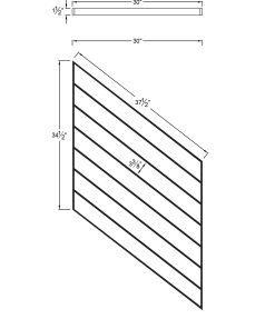 "PR-O3036: 30"" Open Tread Stair Panel for 36"" Rake Rail Height (Rake Angle - 36"" Rake Rail Height) Dimensions"