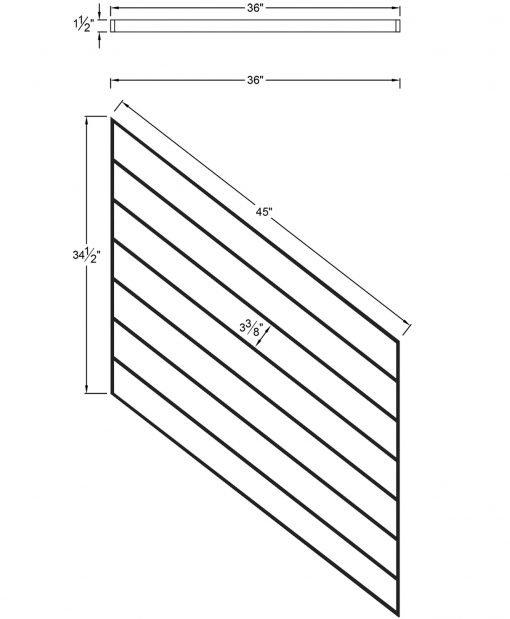 "PR-O3636: 36"" Open Tread Stair Panel for 36"" Rake Rail Height (Rake Angle - 36"" Rake Rail Height) Dimensions"