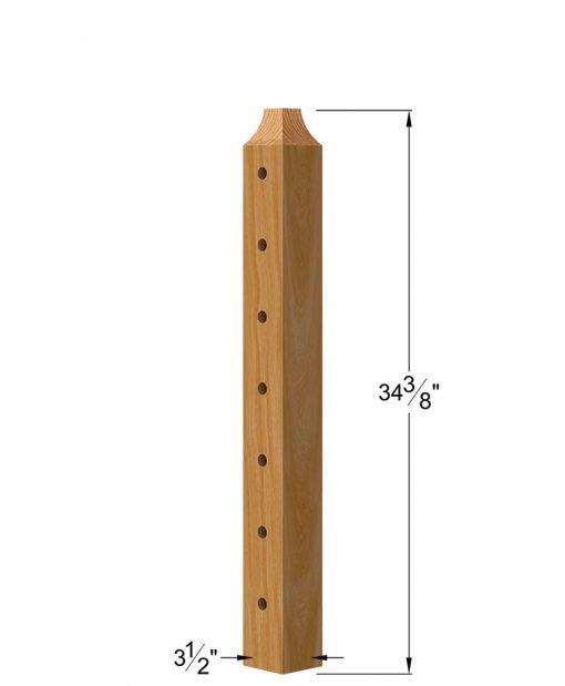 "TL-410-36: 3 1/2"" x 34 3/8"" Level Start/Stop Wood Newel Post (7 Holes) Dimensions"