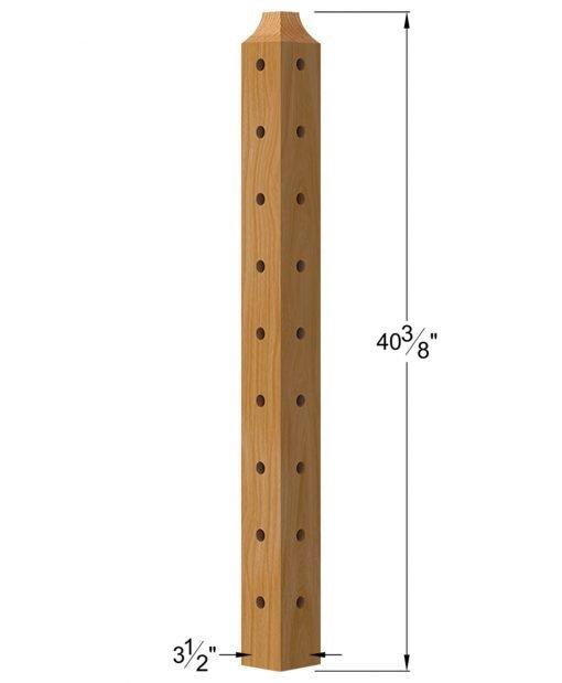 "TL-410C-42: 3 1/2"" x 40 3/8"" Level Corner Wood Newel Post (9 Holes) Dimensions"