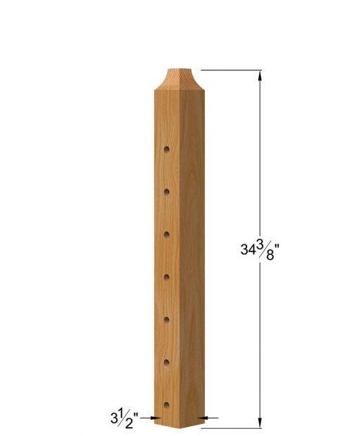 """TL-410D-36: 3 1/2"""" x 34 3/8"""" Level Down Wood Newel Post (7 Holes) Dimensions"""