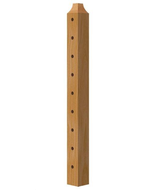 "TL-420-42: 3 1/2"" x 37 3/8"" Level Center Wood Newel Post (9 Holes)"