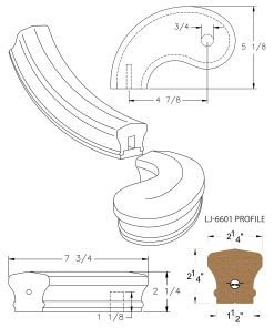 """LJ-7640SB: Conect-A-Kit 5"""" Left Hand Turnout for LJ-6601 Handrail CAD Drawing"""